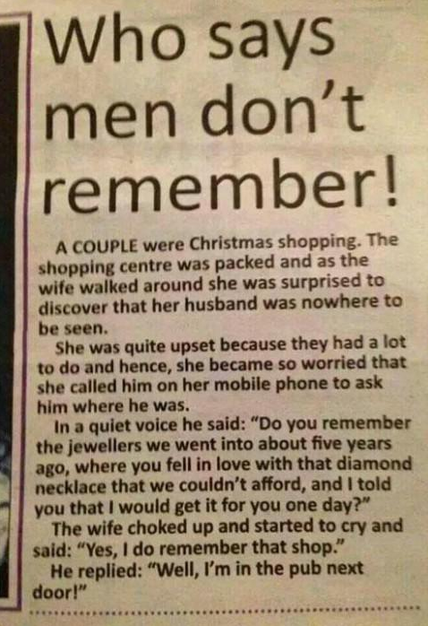 Who says men don't remember!